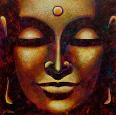 Buddha. Oil painting on 3D canvas.