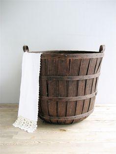 Vintage Tall Wooden Basket Farmhouse Decor. $185.00, via Etsy.