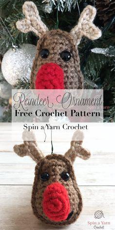 Crochet Reindeer Ornament - Spin a Yarn Crochet