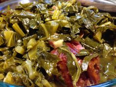 Southern collard greens! To a pressure cooker, add browned  strips of hog jowl & smoked turkey necks. Add cleaned, chopped collards & a few more strips of hog jowl on top. Pressure cook 7 minutes, then add salt and brown sugar to taste and pressure cook for 1 more minute - inCREDibly good!!