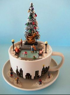 Ice skating scene in a tea cup