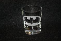 Batman etched shot glass