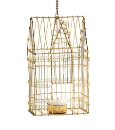 New Stock..... S/S 15 – Moss Cottage. Gorgeous Gold Wire Birdcage. Great accessory for a Wedding too!