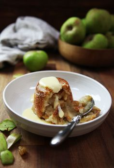 A caramelized crust encasing apples & sultanas flavored with Calvados. A delicious winter pudding, best served warm with custard or creme fraiche!