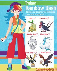 Rainbow Dash is very keen on cool-looking pokemon. My Little Pokemon Trainer - Rainbow Dash My Little Pony List, My Little Pony Comic, My Little Pony Pictures, My Little Pony Friendship, Pokemon Alola, Pokemon People, Pokemon Funny, Equipe Pokemon, Pokemon Crossover