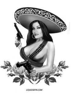 Mexican Man Mexican woMan Wearing A Sombrero Pinup, Chicano Tattoos, Chicano Drawings, Lowrider Art, Brown Pride, Aztec Art, Mexican Art, Mexican Girls, Little Doll