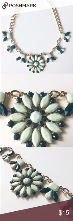J. Crew Factory Statement Necklace Mint and teal Statement Necklace                                      Gold/brass hardware                                                                   17 inches with 3 inch extender                                              Large links and 3 inch extender allow for variety of wear                                                                                   Worn once J. Crew Factory Jewelry Necklaces
