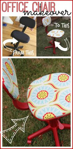 i love this simple way to redo an office chair into a Craft Room Chair - so awesome!  Sugar Bee Crafts