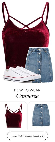 """""""Untitled #3837"""" by laurenatria11 on Polyvore featuring Glamorous, Topshop and Converse"""