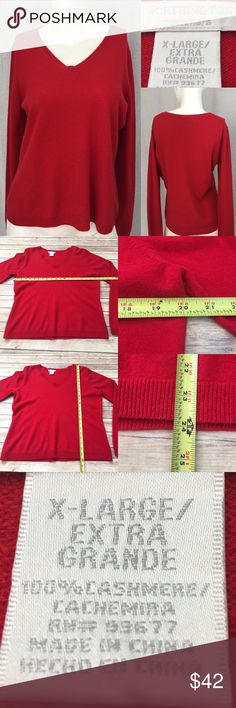 🍃Size XL Worthington Red V-neck Cashmere Sweater Measurements are in photos. Normal wash wear, has a small hole on the under arm, no other flaws. F2/30  I do not comment to my buyers after purchases, due to their privacy. If you would like any reassurance after your purchase that I did receive your order, please feel free to comment on the listing and I will promptly respond. I ship everyday and I always package safely. Thanks! Worthington Sweaters V-Necks