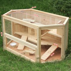 Songmics XXL Wooden Hamster Cage Guinea Rodent House Mice Cage 115x60x58cm PHC001