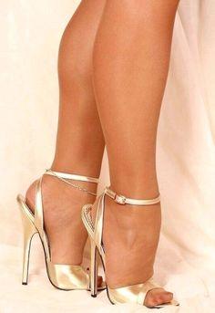 The pleasure of high Heels: Golden sandals nude pantyhose Hot Heels, Sexy High Heels, High Heels Boots, Beautiful High Heels, Sexy Legs And Heels, Open Toe High Heels, Strappy Sandals Heels, Platform High Heels, Ankle Strap Heels