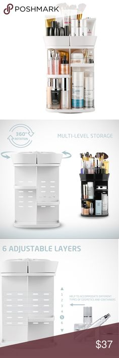 Makeup Organizer 360 DEGREE ROTATION: Perfectly organizes and stores your cosmetics and accessories; easy access to all of your makeup products.  - Easy to assemble and disassemble the organizer following the guide; convenient to clean with adismountable design and washable material  -It good for every makeup products including lotion and brushes   - It keep your items organized 💕 ❤️ Jerrybox Bags Cosmetic Bags & Cases