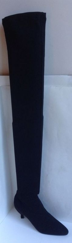 NEW Casadei In Black Fabric Stretch Thigh 32 In. Boots (Size 6.5) - MSRP $540.00 #Casadei #ThighHigh