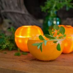 Make a set of orange rind luminaries for your next summer party