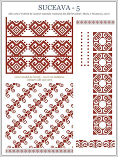 Semne Cusute: din BUCOVINA Folk Embroidery, Cross Stitch Embroidery, Embroidery Patterns, Cross Stitch Borders, Cross Stitching, Beading Patterns, Cross Stitch Patterns, Costume Patterns, Textile Patterns