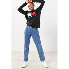 Tommy Jeans For UO '90s Mid-Rise Mom Jean ($139) ❤ liked on Polyvore featuring jeans, straight leg jeans, faded jeans, mid rise jeans, embroidered jeans and 5 pocket jeans