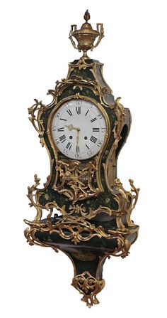 Swiss Ormolu and Painted Wood Dutch-Striking and Musical Neuchatel Clock, circa 1760. The shaped two piece transitional case and original bracket are elaborately decorated.   Exhibitor: Sundial NYC #AVENUE #clock