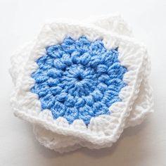 Sunburst Granny Squares - free crochet pattern at Thrifty Below