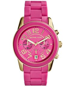 Michael Kors Women's Chronograph Mercer Pink Silicone Bracelet Watch 42mm MK5890 from Macy's on shop.CatalogSpree.com, your personal digital mall.