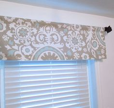 Straight Valance Suzani Twill Powder Blue Taupe by OldStation