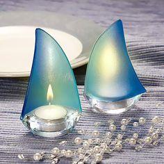 Blue Sailboat Tea Light Holders - Great for #beach #weddings