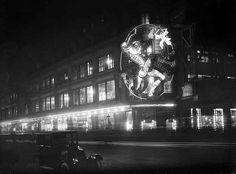 Paris, à long exposure shot of the department store Le Bon Marché in 1926.
