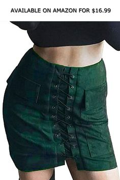 1213088796 Sunly Women's Vintage Lace Up High Waist Bodycon Faux Suede Mini Skirt ◇  AVAILABLE ON AMAZON