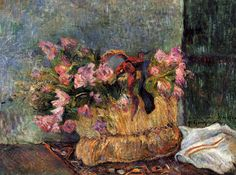 "artist-gauguin: ""Basket of flowers by Paul Gauguin Medium: oil on canvas"""