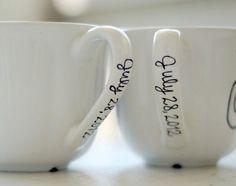 Mr. and Mrs. mug - last name and wedding date (wedding gift idea, do as DIY using sharpie & dollar store mugs) #weddinggifts Wedding Gifts Wedding Gift Ideas #wedding
