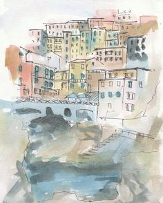 Italy painting. Liguria painting. Italy houses sketch. Colorful painting. Urban sketch.  Town. Italy Houses. Landscape. Original. 8x10