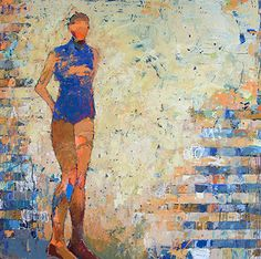 Jylian Gustlin's paintings are a mix of simple patterns, lively color and abstracted figures and forms.