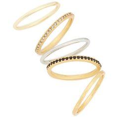 Women's Madewell Set Of 5 Filament Stackable Rings ($28) ❤ liked on Polyvore featuring jewelry, rings, vintage gold, yellow gold jewelry, vintage rings, vintage yellow gold rings, gold ring and stackers jewelry