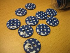 20 x round polka dot buttons navy blue with by JohnnyRocksVintage, £2.00