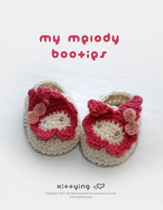 My Melody Baby Booties Crochet PATTERN Kittying Crochet Pattern by kittying.com from mulu.us  This pattern includes sizes for 0 - 12 months