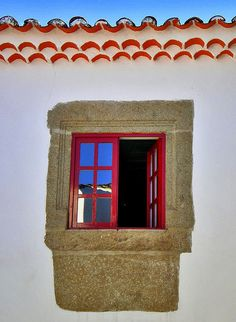 A portuguese window at Miranda do Douro, Portugal Red Windows, Windows And Doors, Window Reveal, Knobs And Knockers, Grand Entrance, Painted Doors, Portugal, Stairways, Portuguese