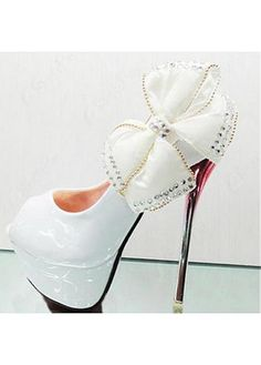 In Stock Beauty White Butterfly Flower PU Round Closed Toe Stiletto Super  High Fashion Basic Pumps e2ff1653cbde
