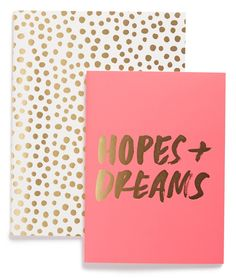Jotting down daily notes, plans and dreams in-style with these ultra-cute pink and gold notebooks.