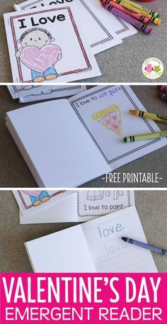 "Here is a sweet, simple Valentine's Day printable that your kids will enjoy. The free emergent reader is easy to assemble and feature the word ""love""...perfect for Valentine's Day or any time of year. This is a great addition to your Valentine's Day theme unit and lesson plans. Use the little printable books in your writing center, ELA center, literacy center or work stations. Valentine's Day activities for preschool, pre-k and kindergarten."