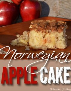 This Norwegian Apple Cake recipe has been the in family cookbook for many years, but I& never tried it. We were down visiting Grandma& Moist Apple Cake, Easy Apple Cake, Apple Cake Recipes, Dessert Recipes, Cupcake Recipes, Norwegian Food, Norwegian Recipes, Norwegian Cake Recipe, Norwegian Cuisine