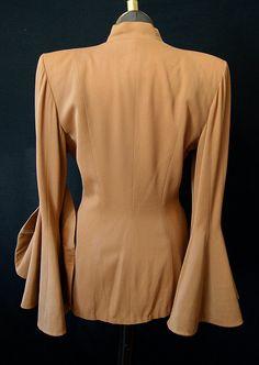 Stunning 1940's Camel Gabardine Jacket w/ Dramatic