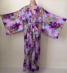 40fc087cdc Vintage Japanese Kimono Hand Printed Made Japan Maxi Robe Purple Floral  Duster