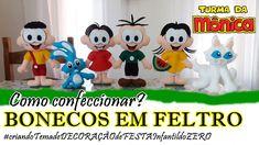 BONECOS EM FELTRO - Turma da MÔNICA #criando DECORAÇÃO de FESTA infantil...