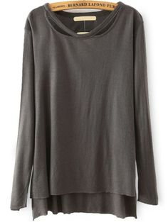 Long Sleeve Dip Hem Brown T-shirt