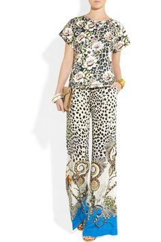 Roberto Cavalli                                  Printed silk crepe de chine pants