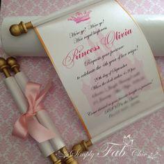 Scroll Baby Shower Invitations Royal Disney Princess Scroll Invitation Birthday Simplyfabchic