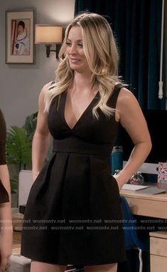 Penny's black v-neck dress on The Big Bang Theory.  Outfit Details: https://wornontv.net/65709/ #TheBigBangTheory