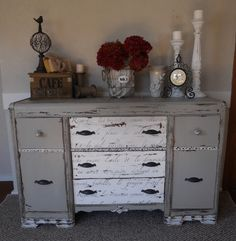Give a vintage buffet new life with a coat of gray paint and a few creative accents.