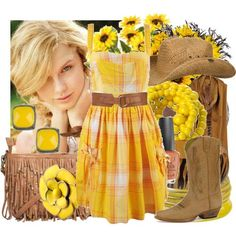LOVE!!  yellow and brown clothing were made for each other.  sunflowers...that natural nailpolish...the DRESS!  (a lil short...where as a shirt with khakis or jeans?)
