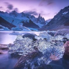 Lagoon Torre is magical. Although weather is changing here every minute sometimes you can encounter stunning moments when floating icebergs calving from the glacier and breaking on the rough stoney shore of lagoon in billions of diamonds. Each of them will reflect a sunset in thousands small shiny facets... Danielkordan.com #Patagonia #Argentina #cerrotorre #Lagunatorre by danielkordan